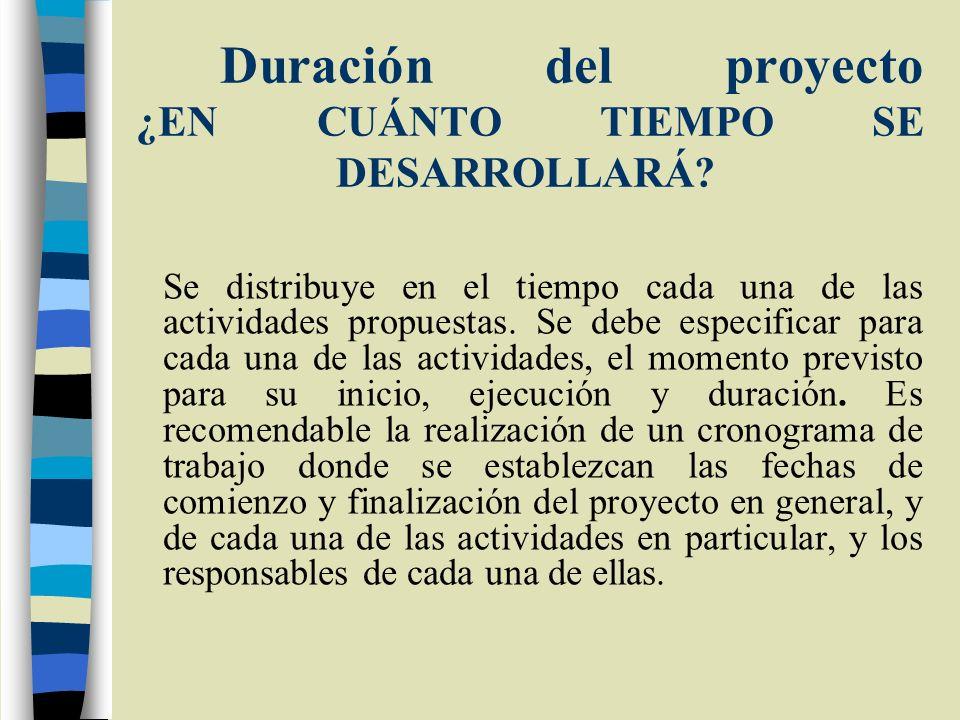 Duración del proyecto ¿EN CUÁNTO TIEMPO SE DESARROLLARÁ