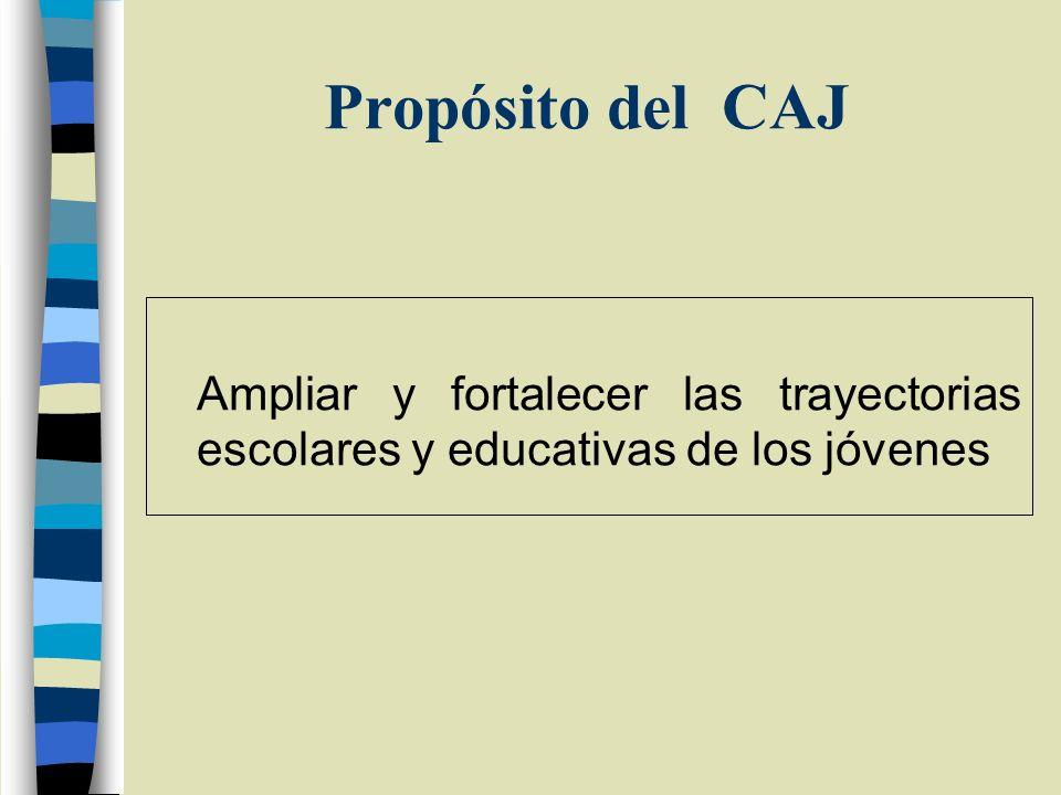Propósito del CAJ Ampliar y fortalecer las trayectorias escolares y educativas de los jóvenes