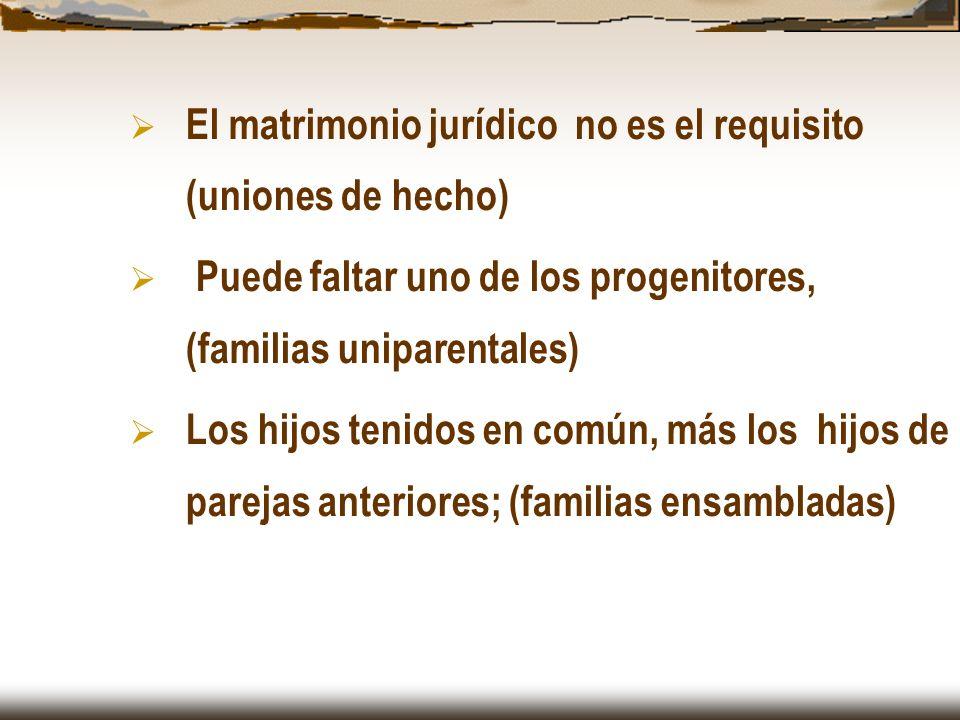 El matrimonio jurídico no es el requisito (uniones de hecho)