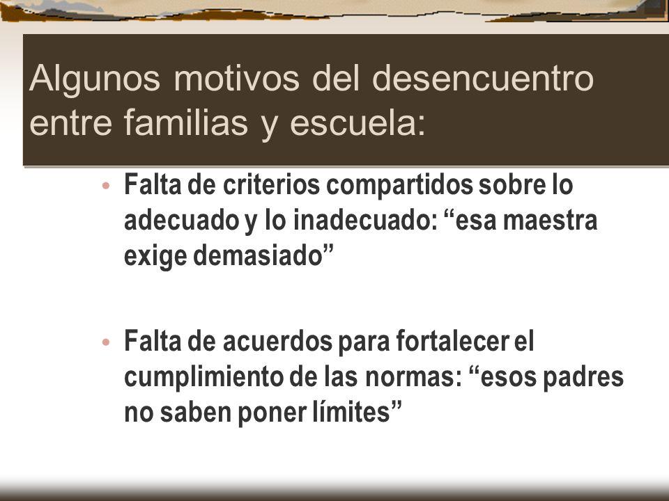 Algunos motivos del desencuentro entre familias y escuela: