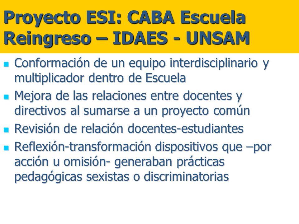 Proyecto ESI: CABA Escuela Reingreso – IDAES - UNSAM