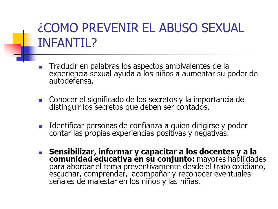 ¿COMO PREVENIR EL ABUSO SEXUAL INFANTIL