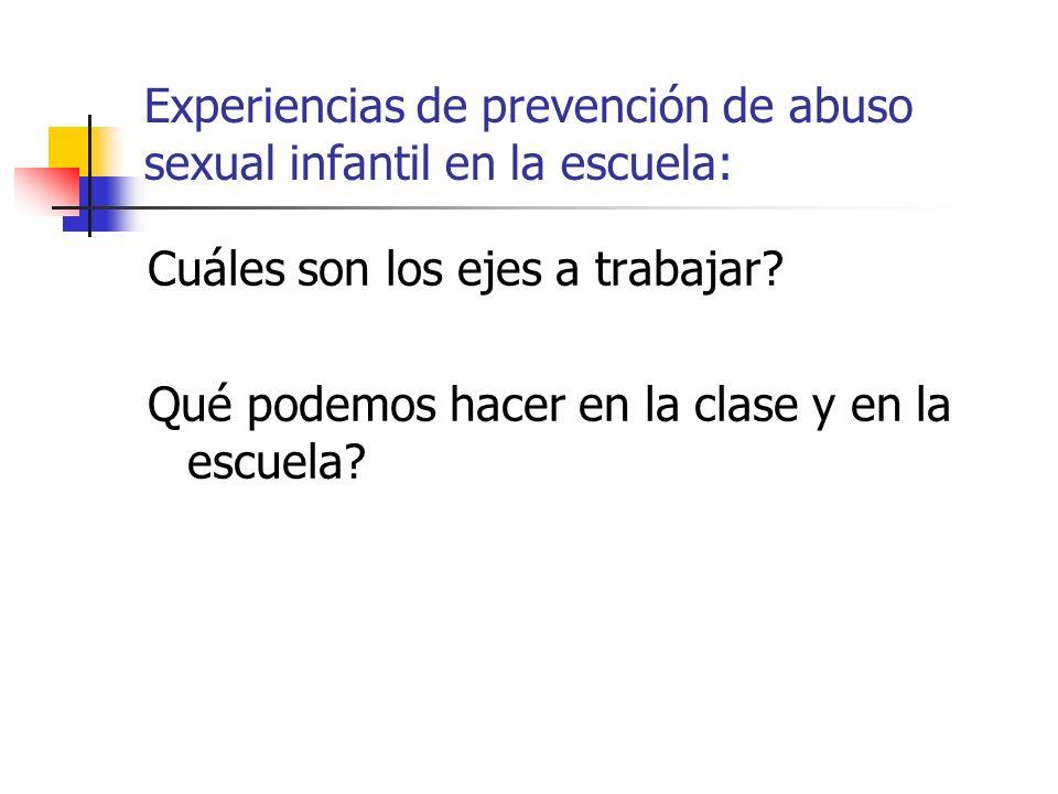 Experiencias de prevención de abuso sexual infantil en la escuela: