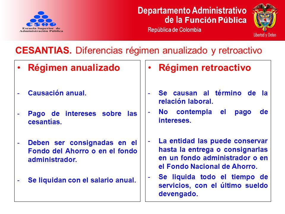 CESANTIAS. Diferencias régimen anualizado y retroactivo