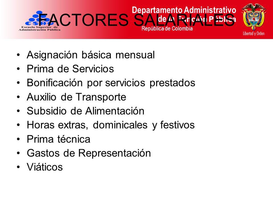FACTORES SALARIALES Asignación básica mensual Prima de Servicios