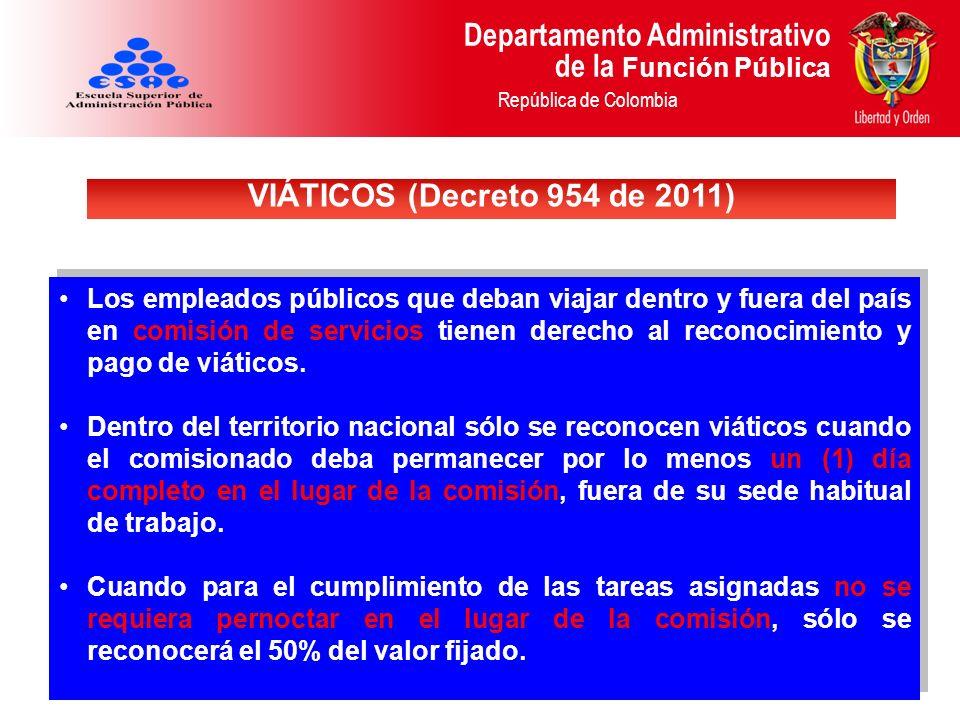 VIÁTICOS (Decreto 954 de 2011)