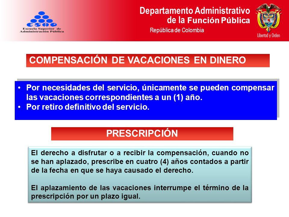 COMPENSACIÓN DE VACACIONES EN DINERO