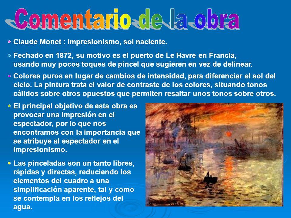 Comentario de la obra Claude Monet : Impresionismo, sol naciente.