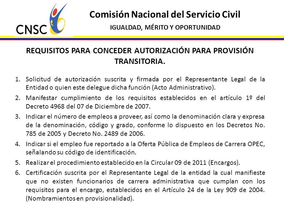 REQUISITOS PARA CONCEDER AUTORIZACIÓN PARA PROVISIÓN TRANSITORIA.