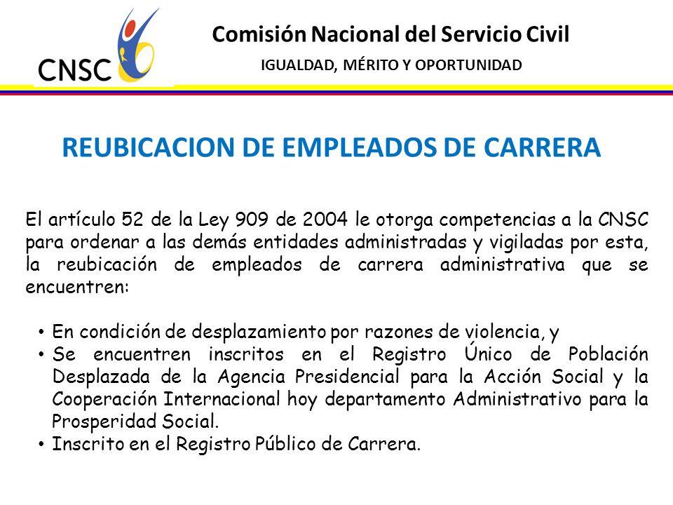 REUBICACION DE EMPLEADOS DE CARRERA