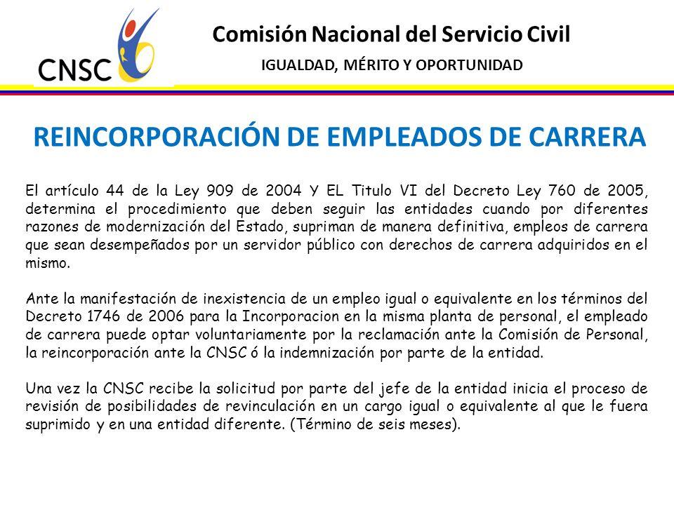REINCORPORACIÓN DE EMPLEADOS DE CARRERA