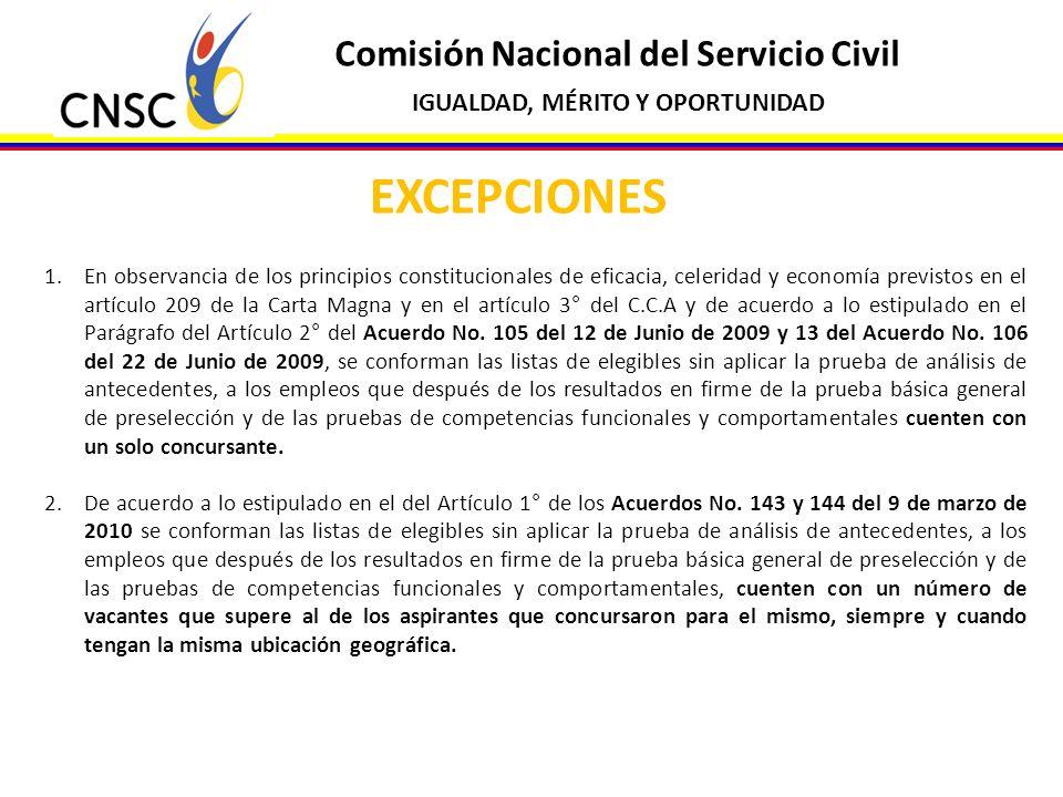 EXCEPCIONES Comisión Nacional del Servicio Civil