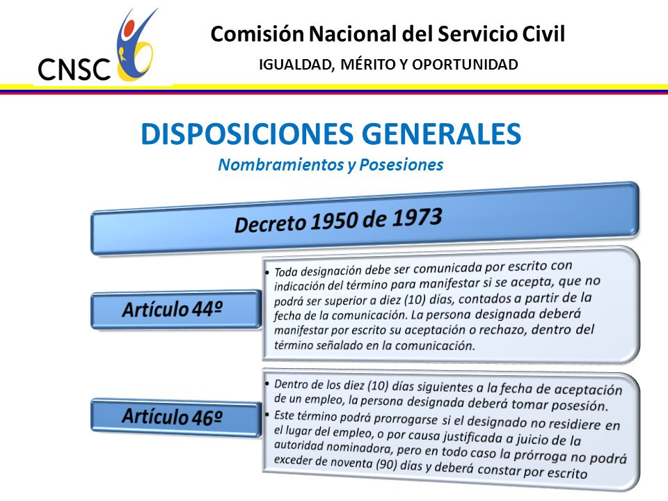 DISPOSICIONES GENERALES Nombramientos y Posesiones