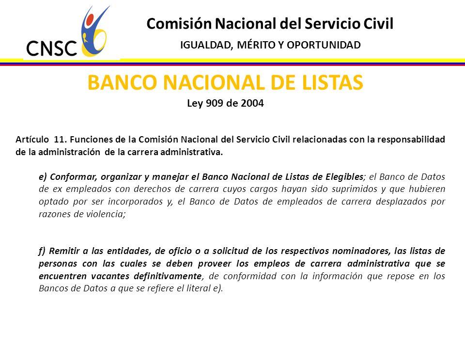 BANCO NACIONAL DE LISTAS