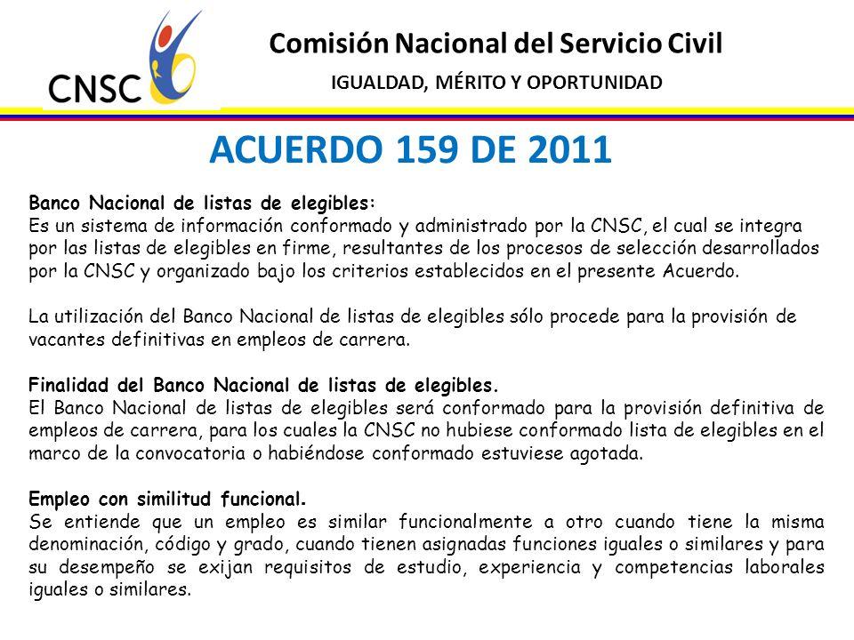 ACUERDO 159 DE 2011 Comisión Nacional del Servicio Civil
