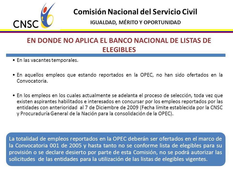 EN DONDE NO APLICA EL BANCO NACIONAL DE LISTAS DE ELEGIBLES