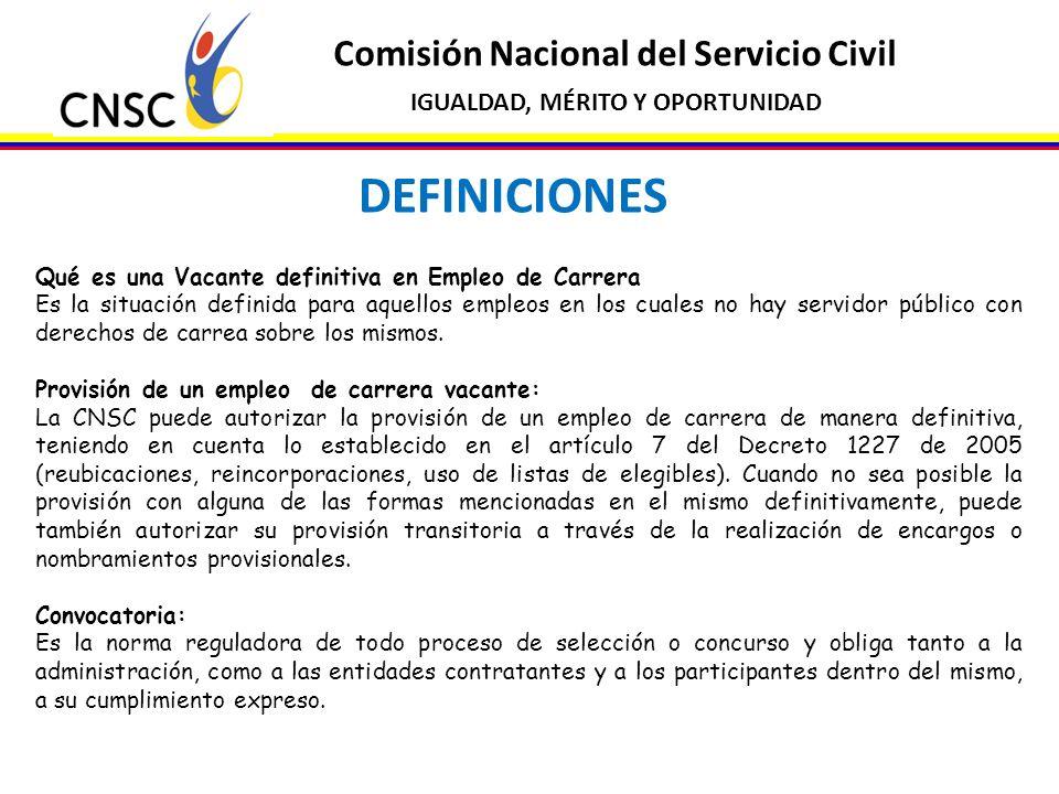 DEFINICIONES Comisión Nacional del Servicio Civil