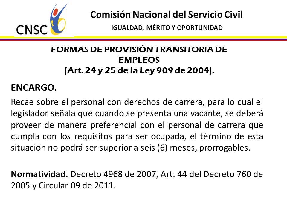 FORMAS DE PROVISIÓN TRANSITORIA DE EMPLEOS