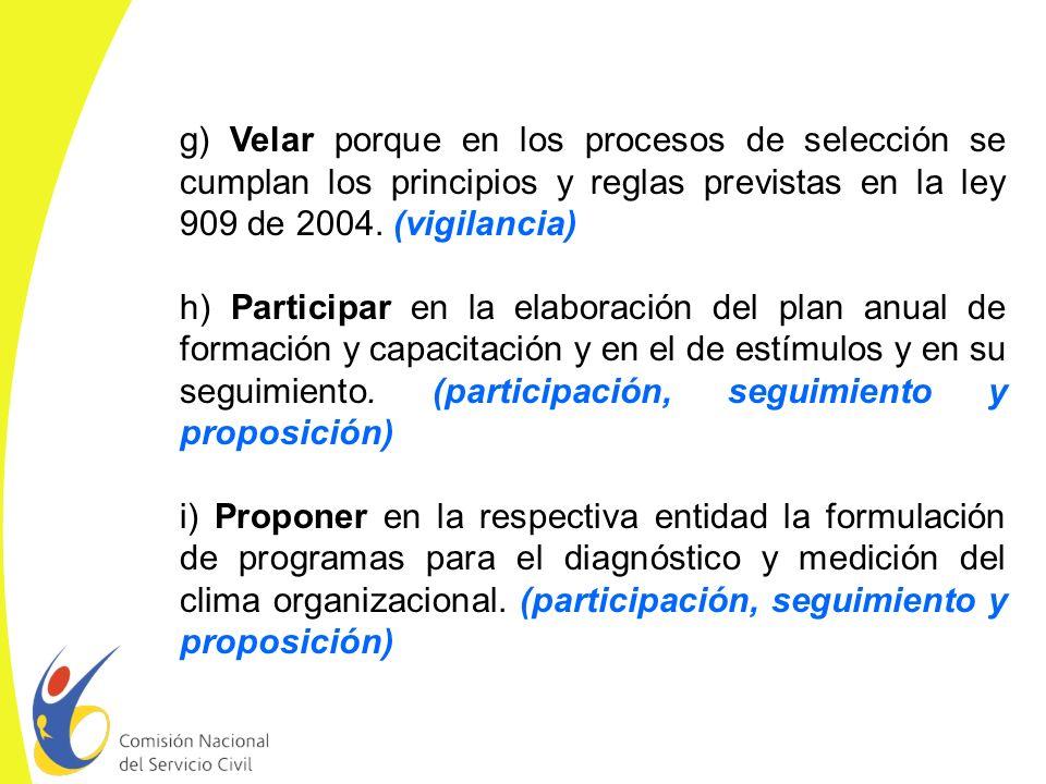 g) Velar porque en los procesos de selección se cumplan los principios y reglas previstas en la ley 909 de 2004. (vigilancia)