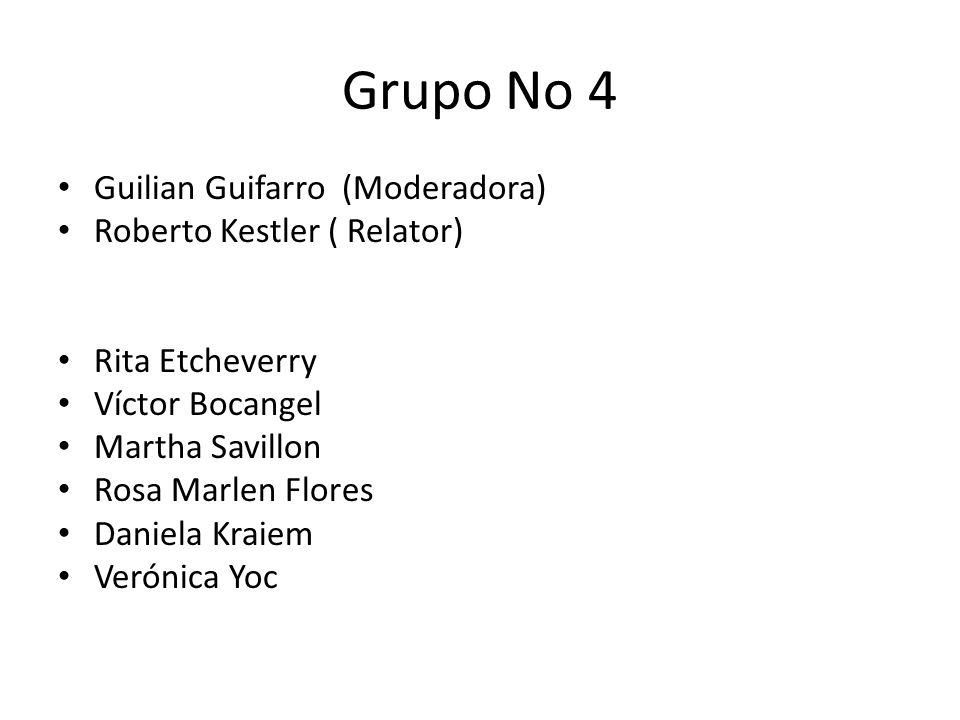 Grupo No 4 Guilian Guifarro (Moderadora) Roberto Kestler ( Relator)