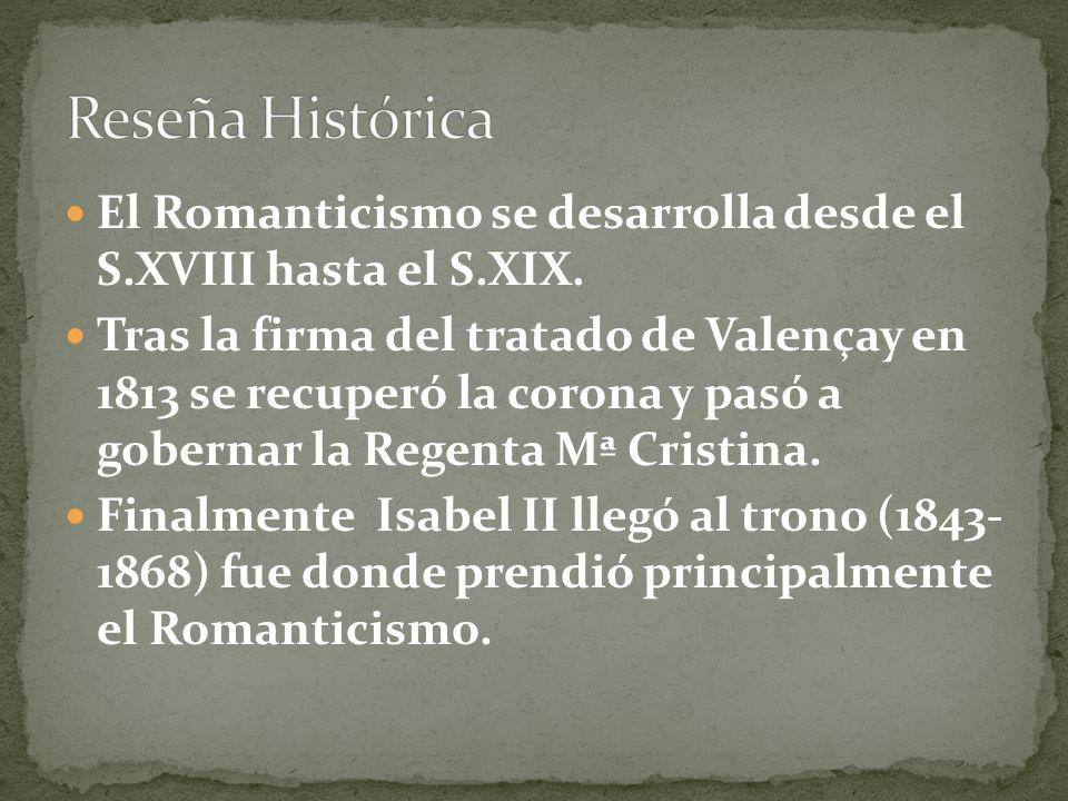 Reseña HistóricaEl Romanticismo se desarrolla desde el S.XVIII hasta el S.XIX.