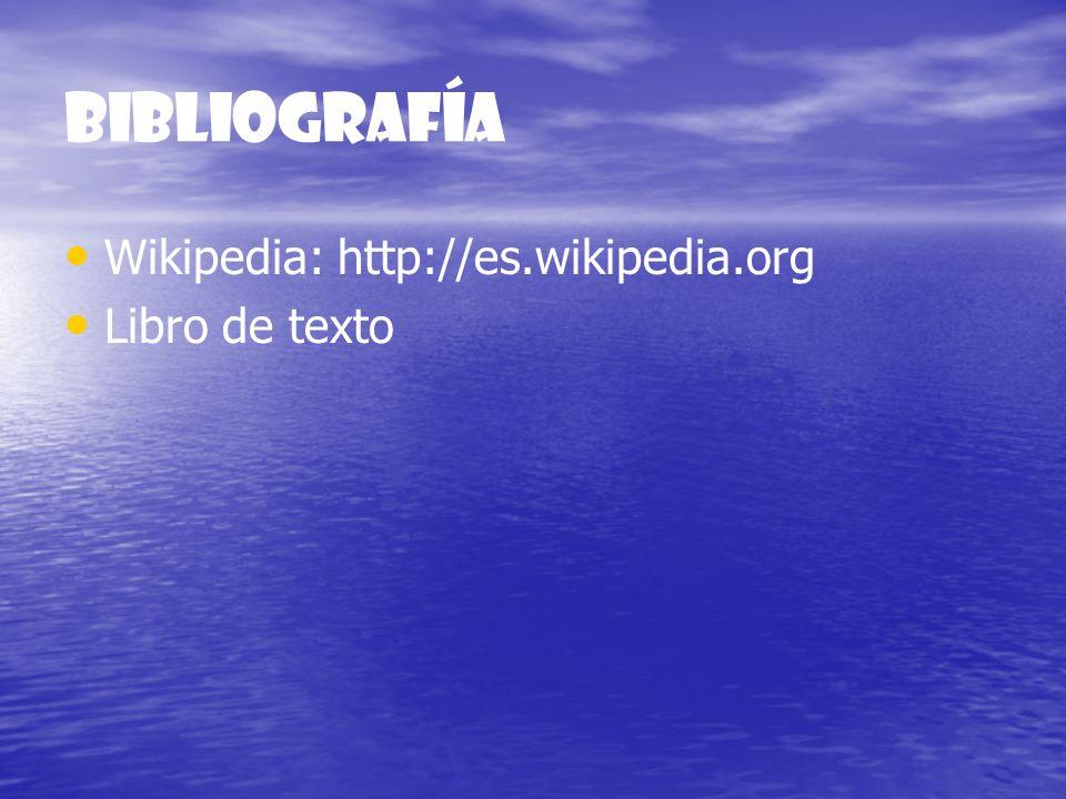 Bibliografía Wikipedia: http://es.wikipedia.org Libro de texto