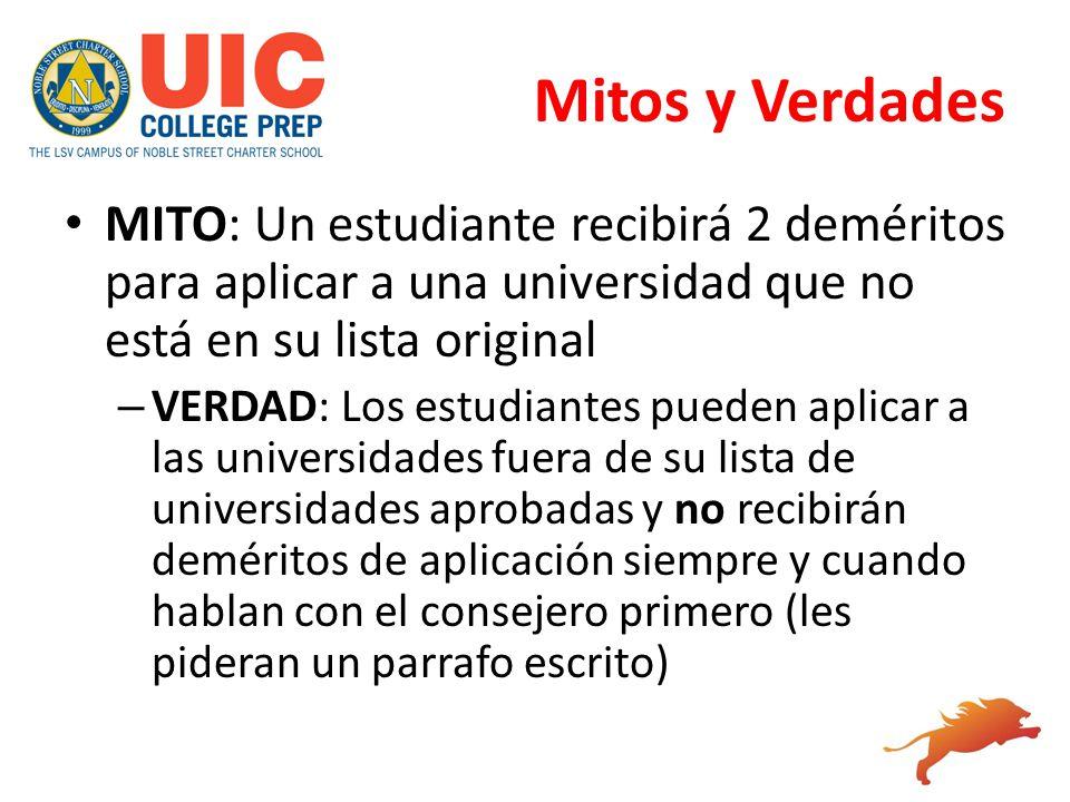 Mitos y Verdades MITO: Un estudiante recibirá 2 deméritos para aplicar a una universidad que no está en su lista original.