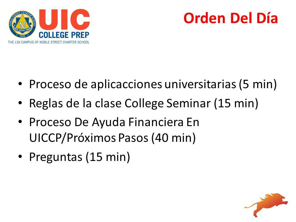 Orden Del Día Proceso de aplicacciones universitarias (5 min)