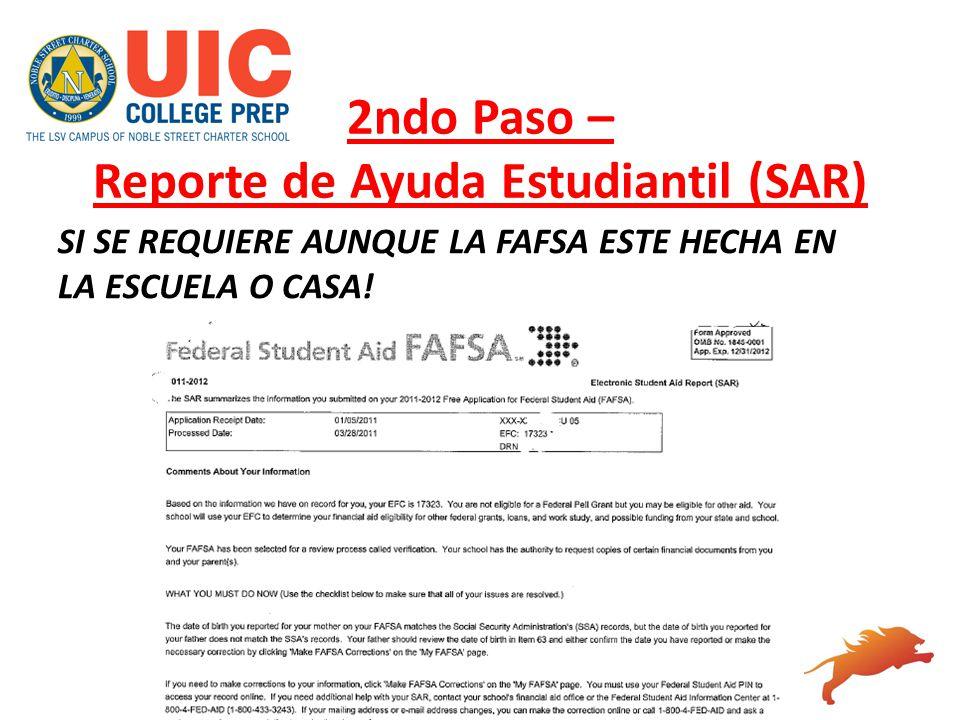 2ndo Paso – Reporte de Ayuda Estudiantil (SAR)