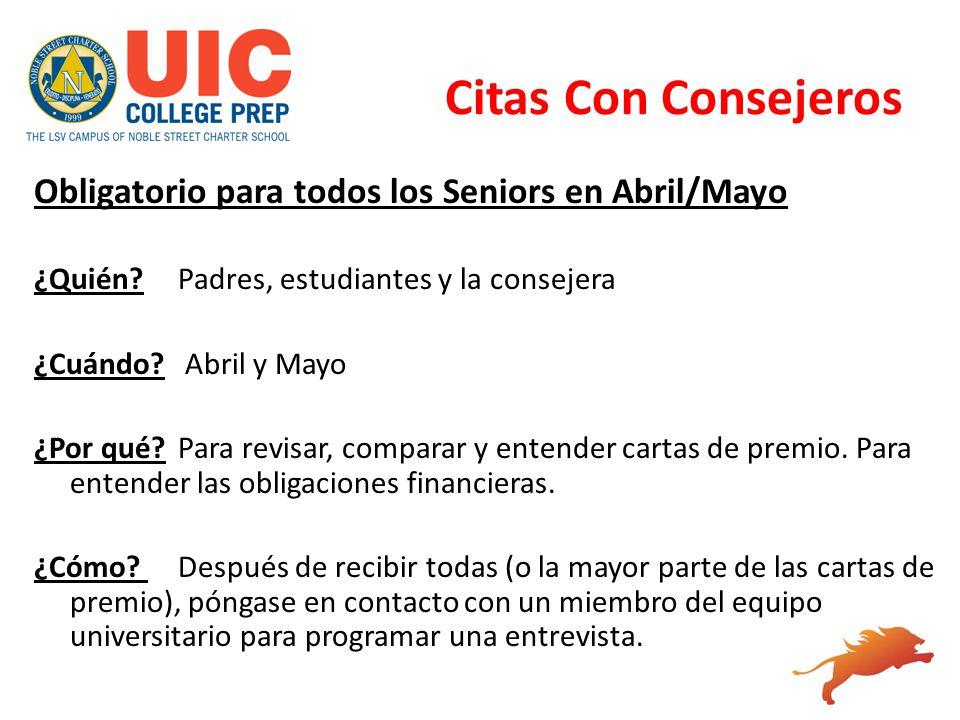 Citas Con Consejeros Obligatorio para todos los Seniors en Abril/Mayo
