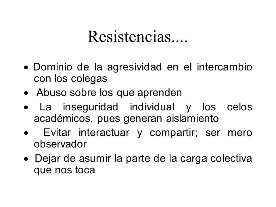 Resistencias.... · Dominio de la agresividad en el intercambio con los colegas. · Abuso sobre los que aprenden.