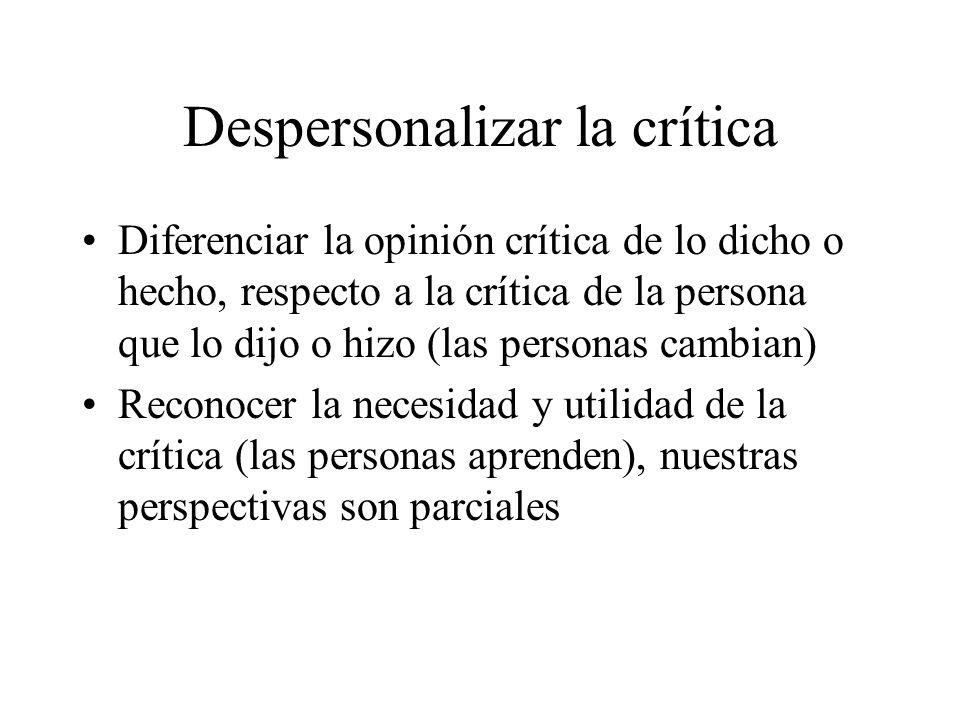 Despersonalizar la crítica