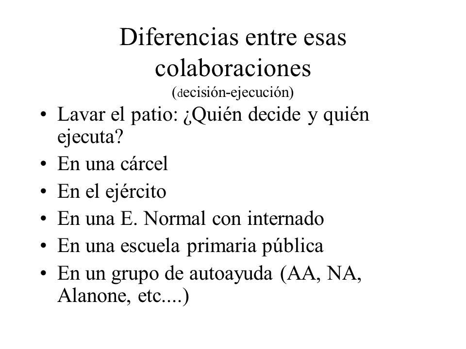 Diferencias entre esas colaboraciones (decisión-ejecución)