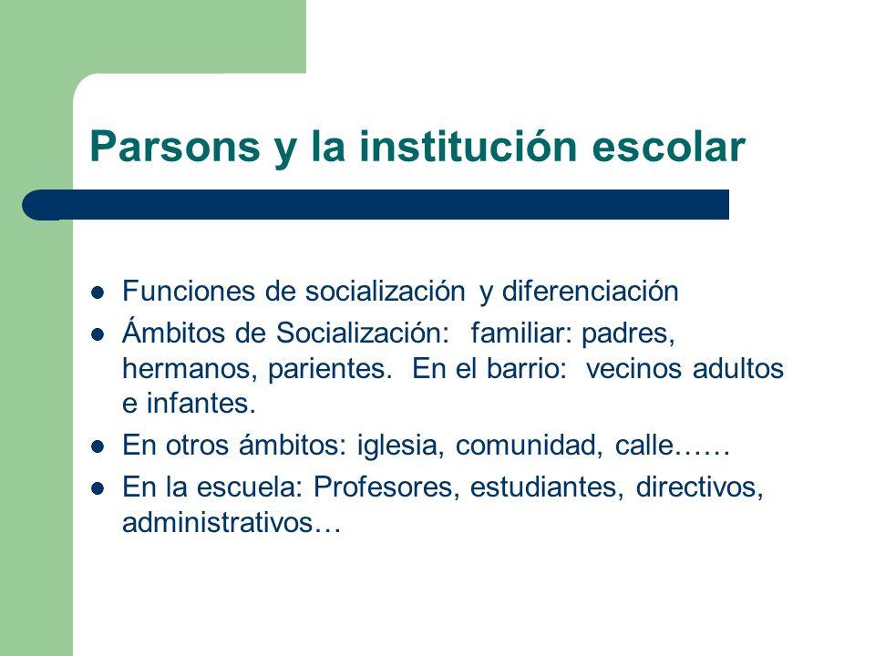 Parsons y la institución escolar