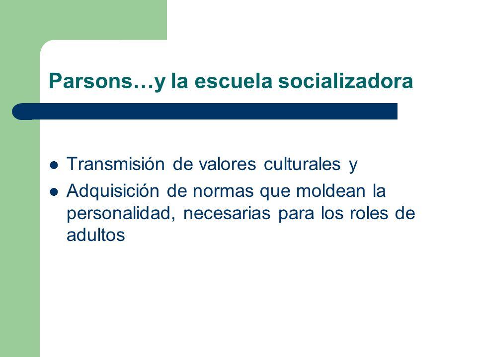 Parsons…y la escuela socializadora