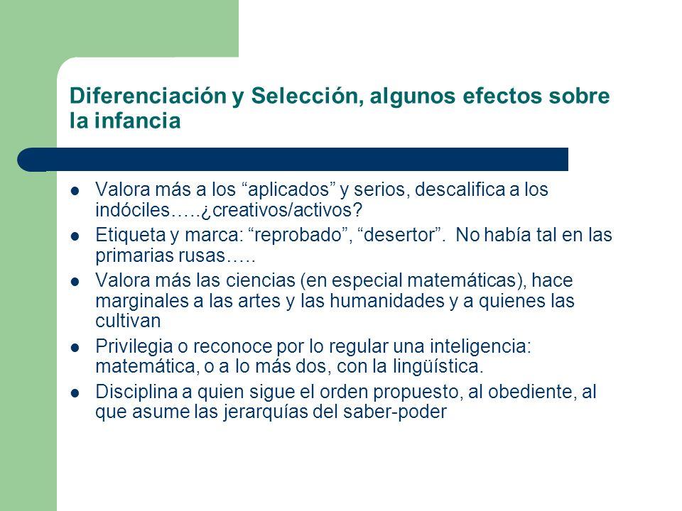 Diferenciación y Selección, algunos efectos sobre la infancia