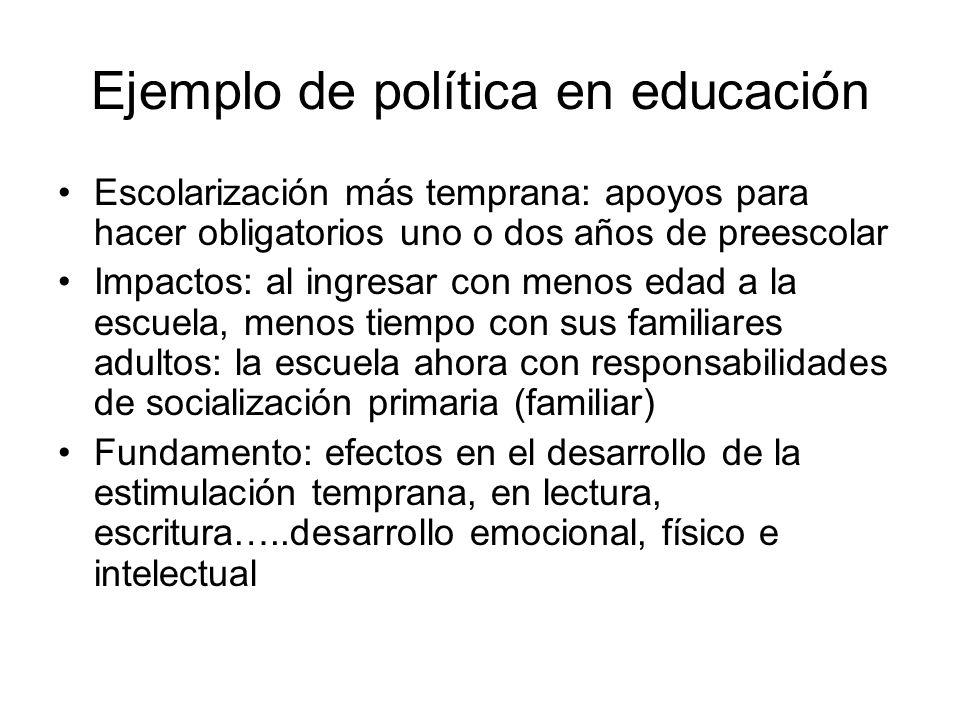 Ejemplo de política en educación