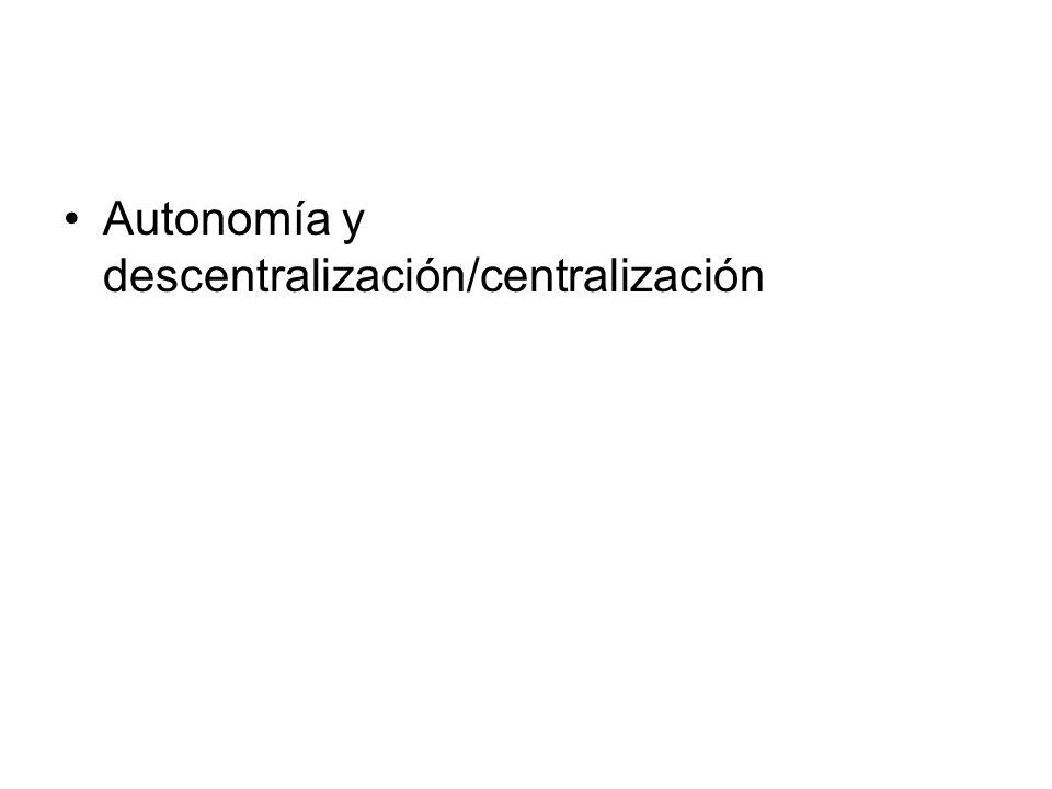 Autonomía y descentralización/centralización