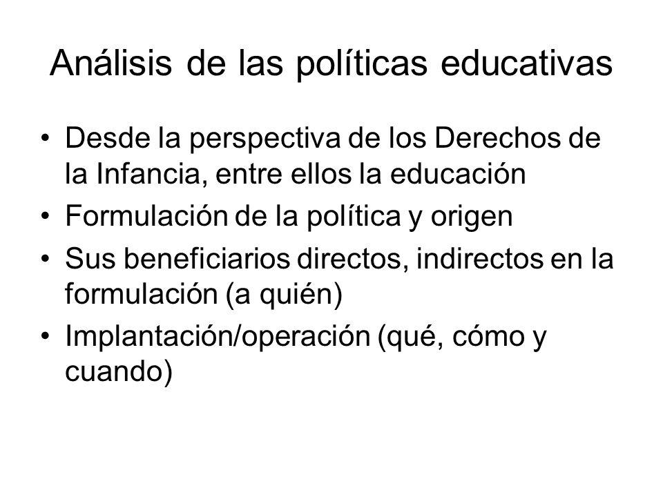 Análisis de las políticas educativas