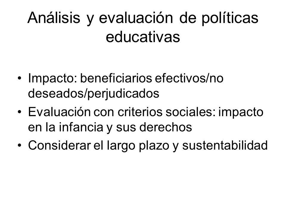 Análisis y evaluación de políticas educativas