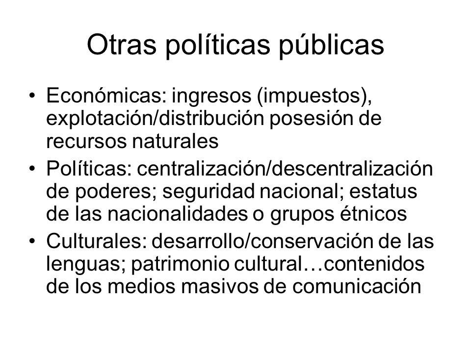 Otras políticas públicas