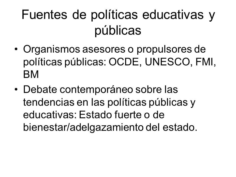 Fuentes de políticas educativas y públicas