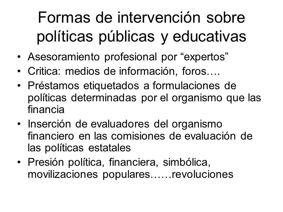 Formas de intervención sobre políticas públicas y educativas