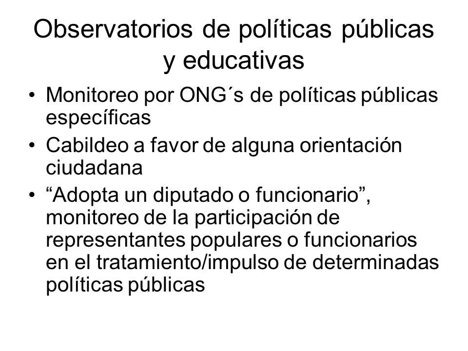 Observatorios de políticas públicas y educativas