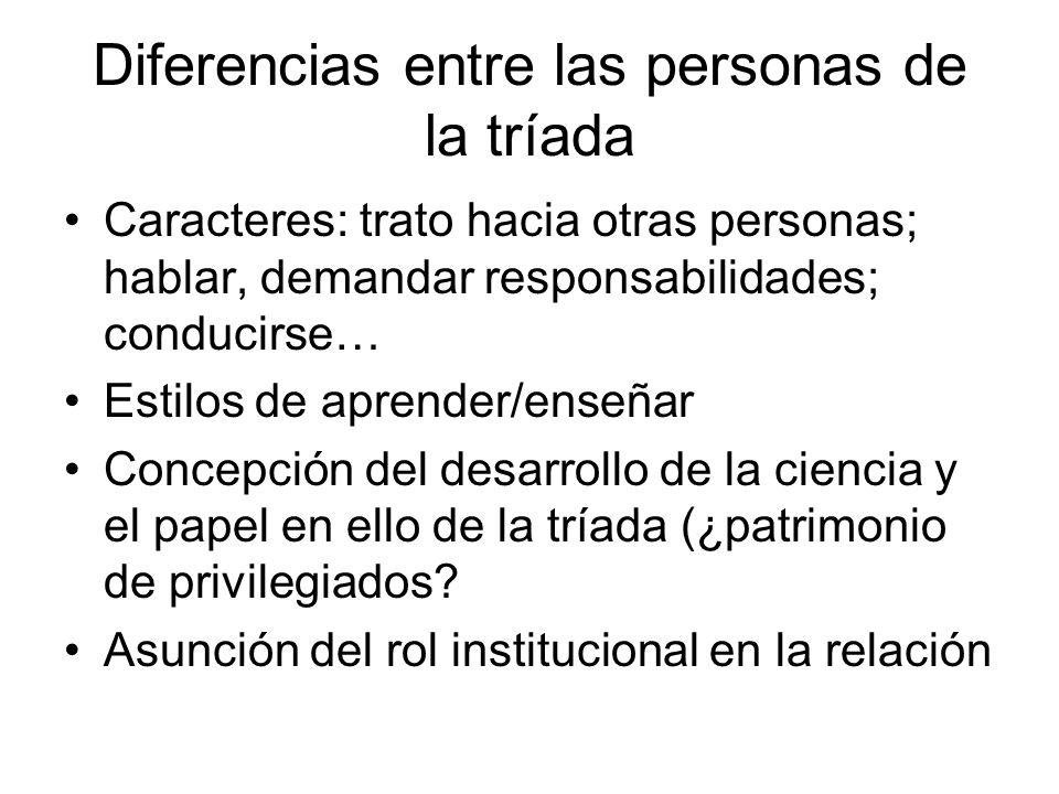 Diferencias entre las personas de la tríada