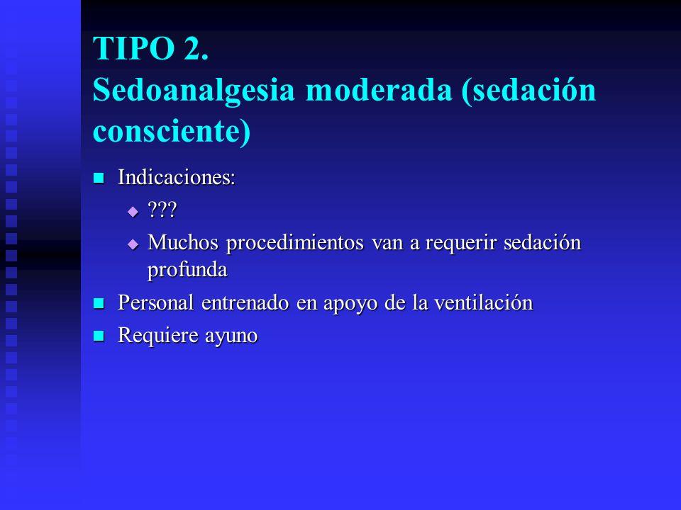 TIPO 2. Sedoanalgesia moderada (sedación consciente)
