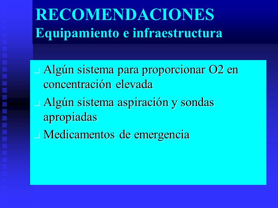 RECOMENDACIONES Equipamiento e infraestructura