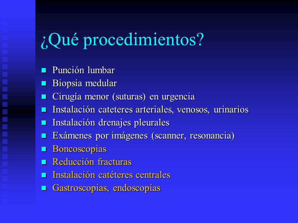 ¿Qué procedimientos Punción lumbar Biopsia medular