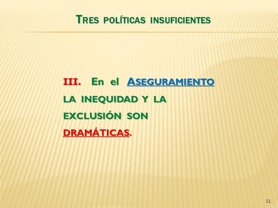 TRES POLÍTICAS INSUFICIENTES