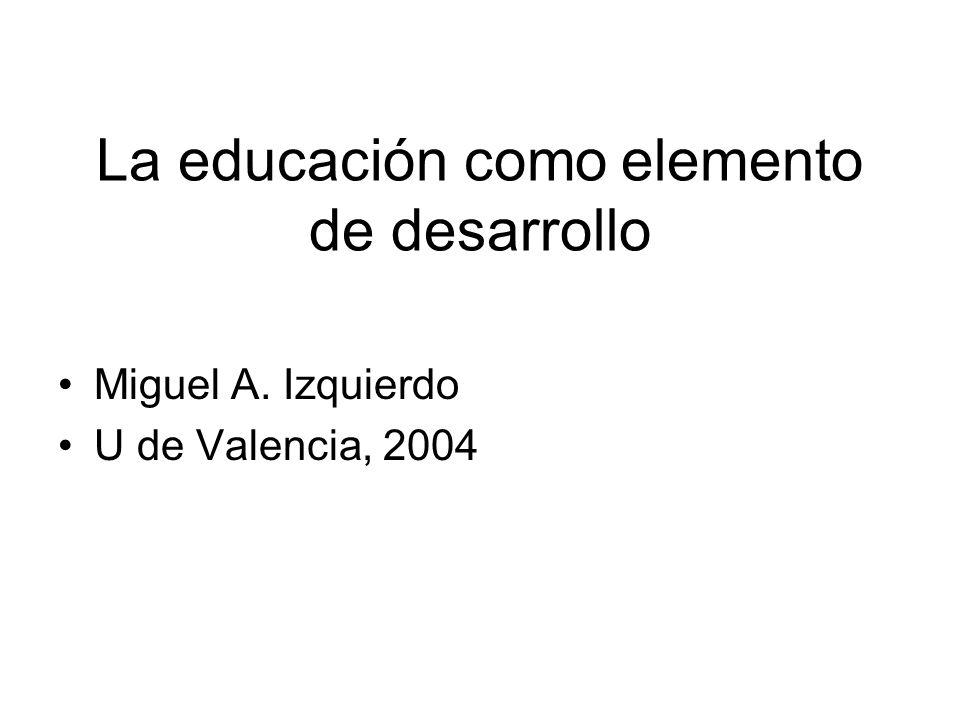La educación como elemento de desarrollo